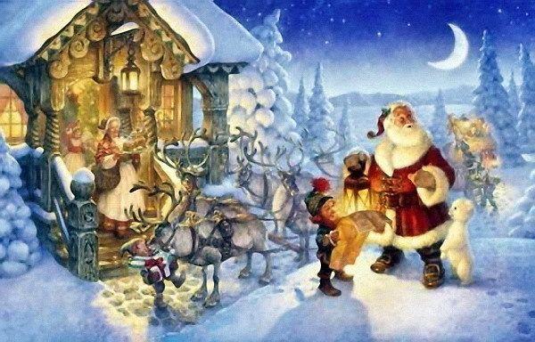 Navidad papa Noel enpaisaje nevado
