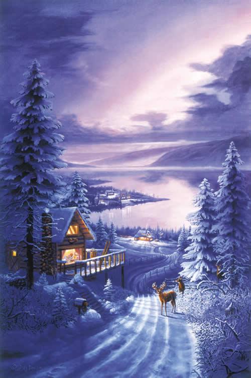 Postales de paisajes nevados navidad - Paisaje nevado navidad ...