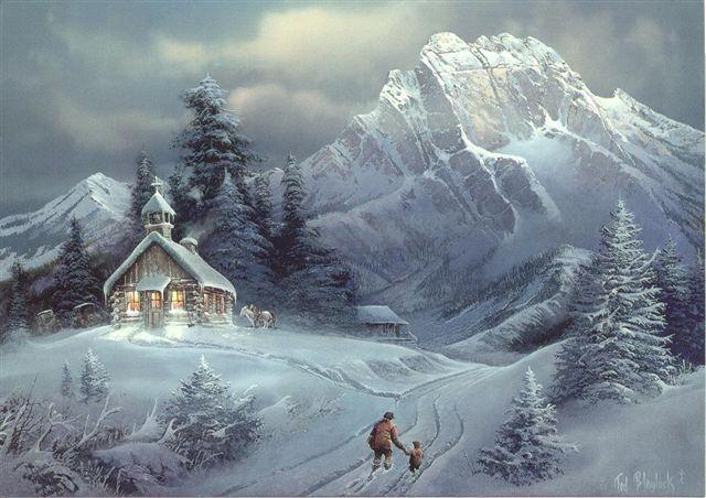 Celebrar la navidad postales de paisajes nevados navidad - Paisaje nevado navidad ...