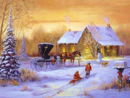 Postales de paisajes nevados navidad para celebrar - Paisaje nevado navidad ...